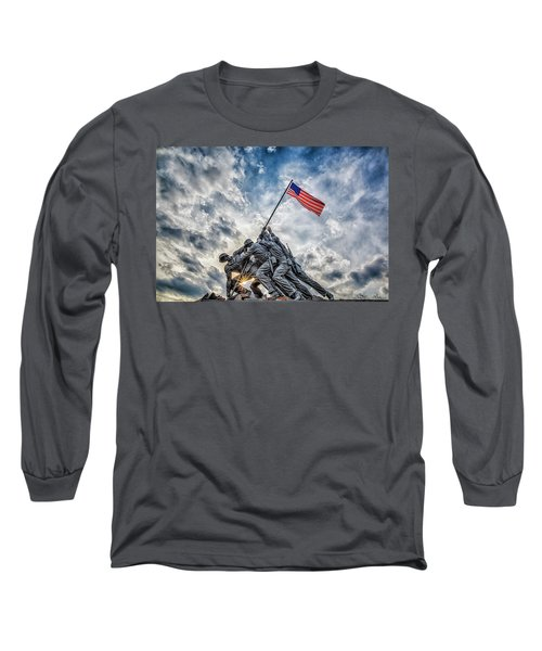 Iwo Jima Memorial Long Sleeve T-Shirt by Susan Candelario
