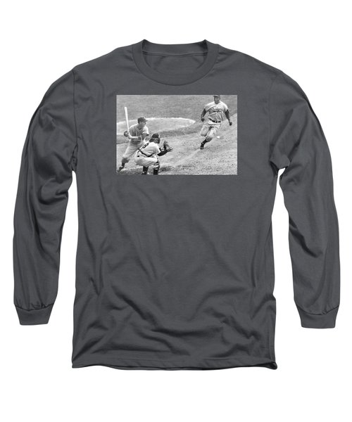 Jackie Robinson Stealing Home Yogi Berra Catcher In 1st Game 1955 World Series Long Sleeve T-Shirt