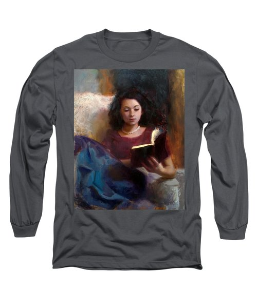 Jaidyn Reading A Book 1 - Portrait Of Young Woman - Girls Who Read - Books In Art Long Sleeve T-Shirt