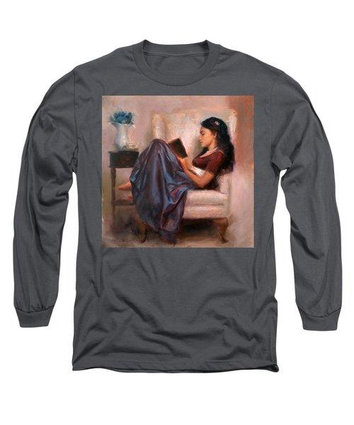 Jaidyn Reading A Book 2 - Portrait Of Woman Long Sleeve T-Shirt