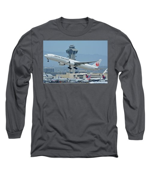 Long Sleeve T-Shirt featuring the photograph Japan Airlines Boeing 777-346er Ja737j Los Angeles International Airport May 3 2016 by Brian Lockett