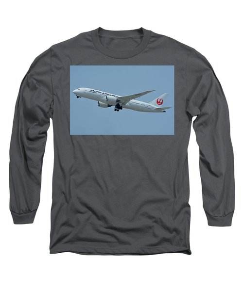 Long Sleeve T-Shirt featuring the photograph Japan Airlines Boeing 787-8 Ja835j Los Angeles International Airport May 3 2016 by Brian Lockett