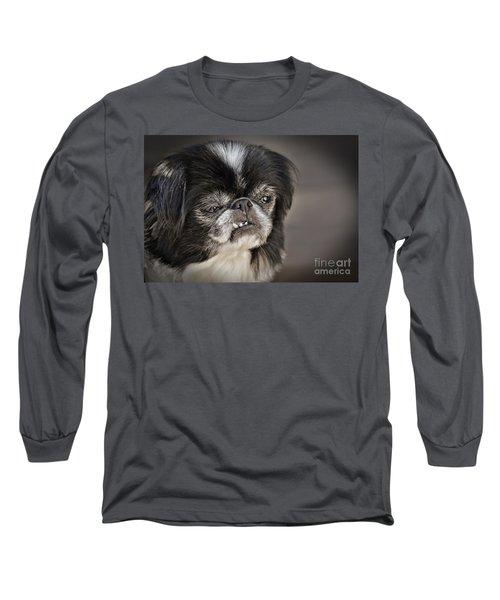 Japanese Chin Doggie Portrait Long Sleeve T-Shirt by Jim Fitzpatrick