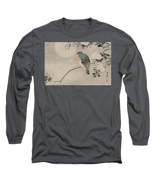 Japanese Silk Painting Of A Wood Pigeon Long Sleeve T-Shirt by Japanese School