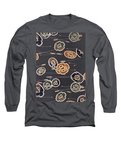 Japanese Sword Guard Modern Interior Art Painting. Long Sleeve T-Shirt