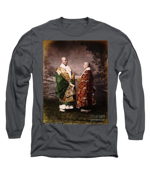 Long Sleeve T-Shirt featuring the painting Japanese Zen Buddhist Priests Circa 1880 by Peter Gumaer Ogden