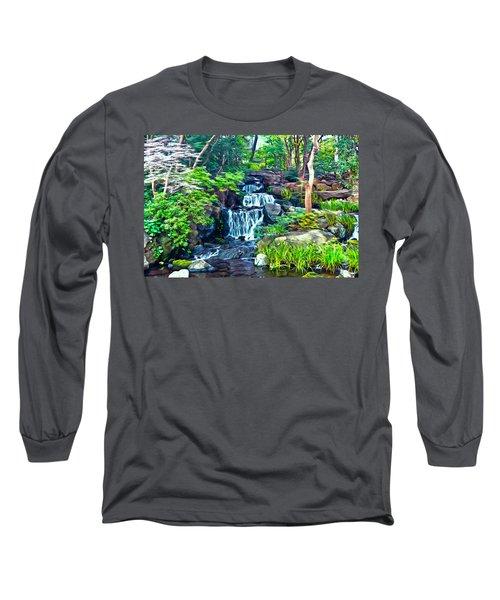 Japanese Waterfall Garden Long Sleeve T-Shirt
