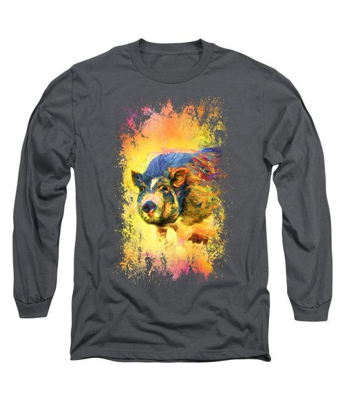 Jazzy Pig Colorful Animal Art By Jai Johnson Long Sleeve T-Shirt