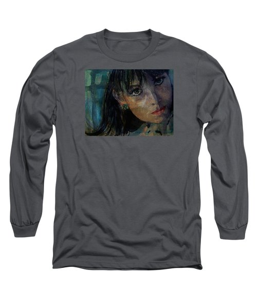 Long Sleeve T-Shirt featuring the painting Jean Shrimpton by Paul Lovering