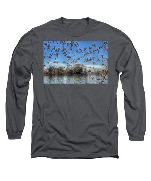 Jefferson Memorial - Cherry Blossoms Long Sleeve T-Shirt by Marianna Mills