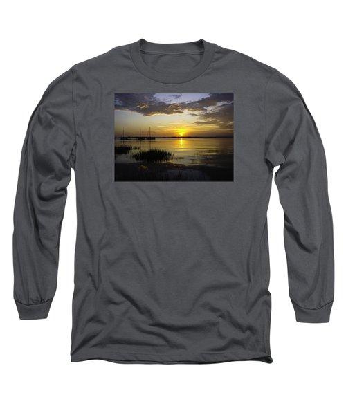 Jekyll Island Sunset Long Sleeve T-Shirt by Elizabeth Eldridge