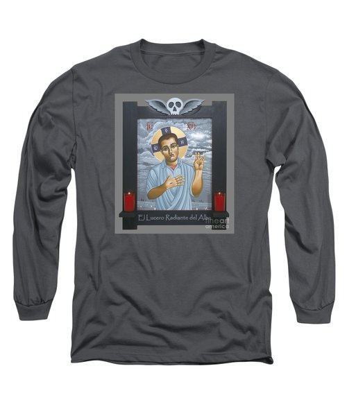 Long Sleeve T-Shirt featuring the painting Jesus Christ Morning Star With Frame 108 by William Hart McNichols