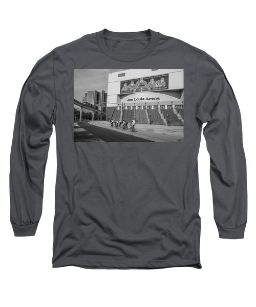 Joe Louis Arena Black And White With Bikers Long Sleeve T-Shirt