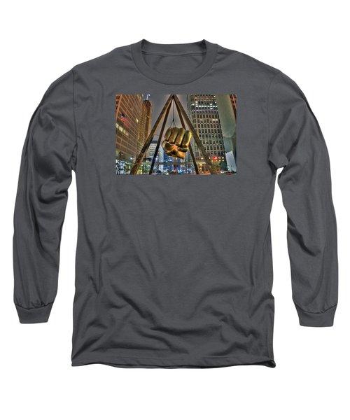 Joe Louis Fist Detroit Mi Long Sleeve T-Shirt by Nicholas  Grunas