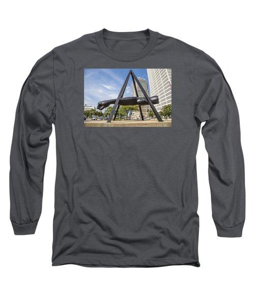 Joe Louis Fist In Detroit In Color  Long Sleeve T-Shirt by John McGraw