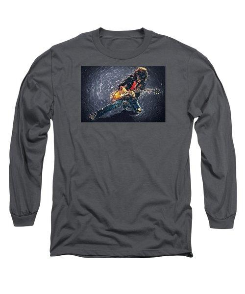 Joe Perry Long Sleeve T-Shirt by Taylan Apukovska