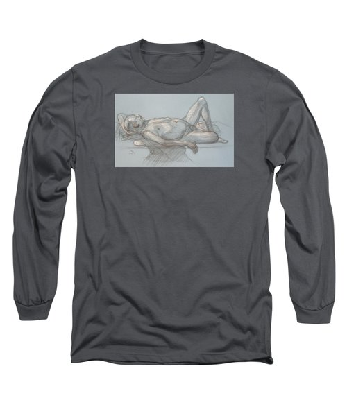 Joey Reclining #1 Long Sleeve T-Shirt by Donelli  DiMaria