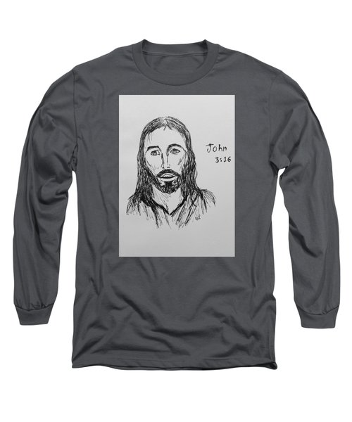 Long Sleeve T-Shirt featuring the drawing John 3 16 by Victoria Lakes