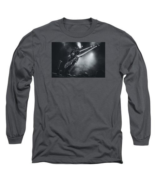 Johnny Marr Playing Live Long Sleeve T-Shirt by Marco Oliveira