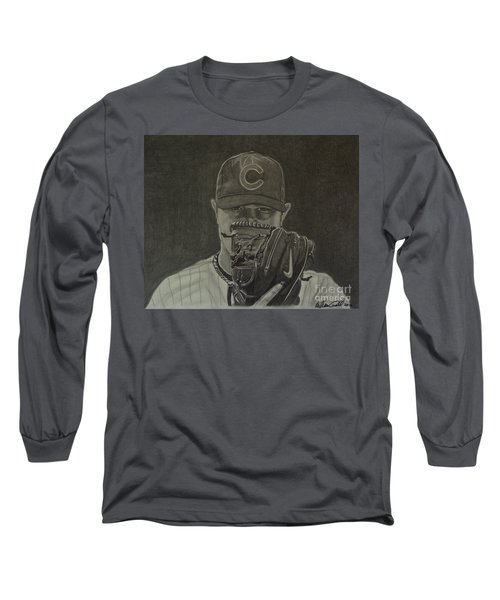 Jon Lester Portrait Long Sleeve T-Shirt by Melissa Goodrich