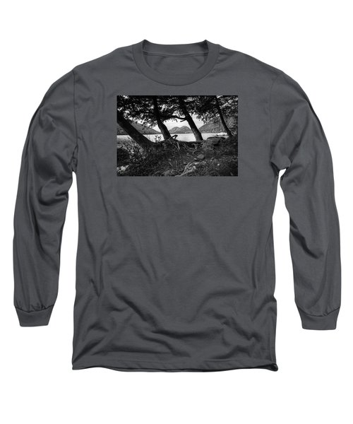 Jordan Pond - Acadia - Black And White Long Sleeve T-Shirt
