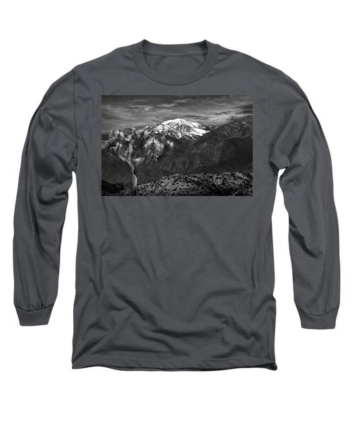 Long Sleeve T-Shirt featuring the photograph Joshua Tree At Keys View In Black And White by Randall Nyhof
