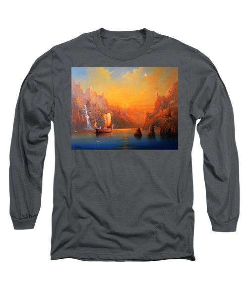 Journey To The Undying Lands Long Sleeve T-Shirt by Joe  Gilronan