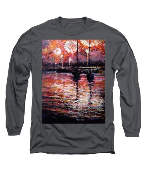July Fourth Fireworks On The Hudson Long Sleeve T-Shirt