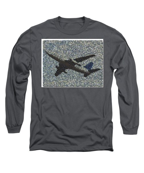 Long Sleeve T-Shirt featuring the mixed media Jumbo Jet Airplane Made Of Cockpit Panel Dials Mosaic by Paul Van Scott