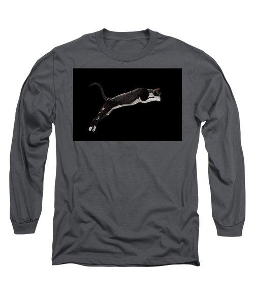 Jumping Cornish Rex Cat Isolated On Black Long Sleeve T-Shirt