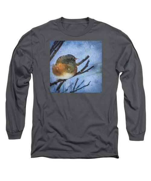 Long Sleeve T-Shirt featuring the digital art Junco On Winter Day by Christina Lihani