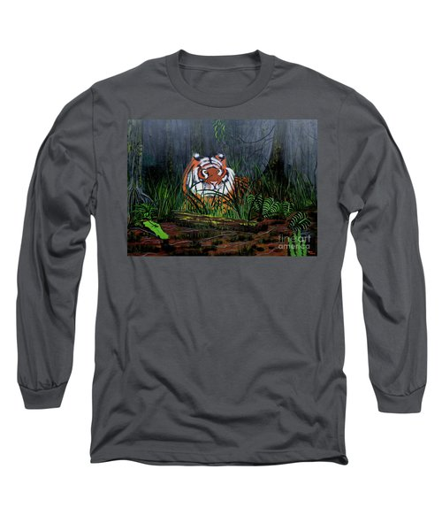 Long Sleeve T-Shirt featuring the painting Jungle Cat by Myrna Walsh