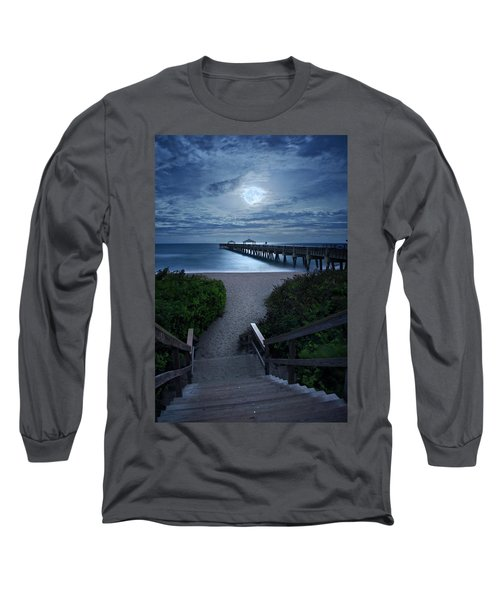Juno Pier Stairs To Beach Under Full Moon Long Sleeve T-Shirt