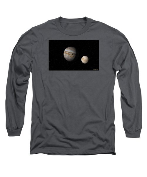 Jupiter With Io And Europa Long Sleeve T-Shirt by David Robinson