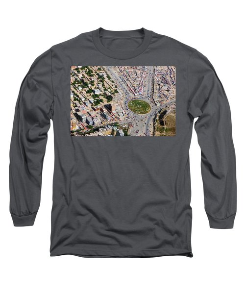 Kabul Traffic Circle Aerial Photo Long Sleeve T-Shirt