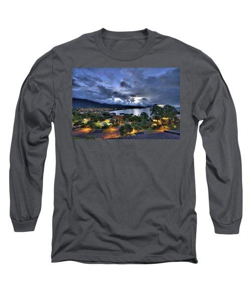 Kaneohe Bay Night Hdr Long Sleeve T-Shirt by Dan McManus