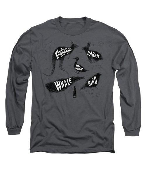 Kangaroo - Rabbit - Duck - Whale - Bird In Black Long Sleeve T-Shirt by Aloke Creative Store