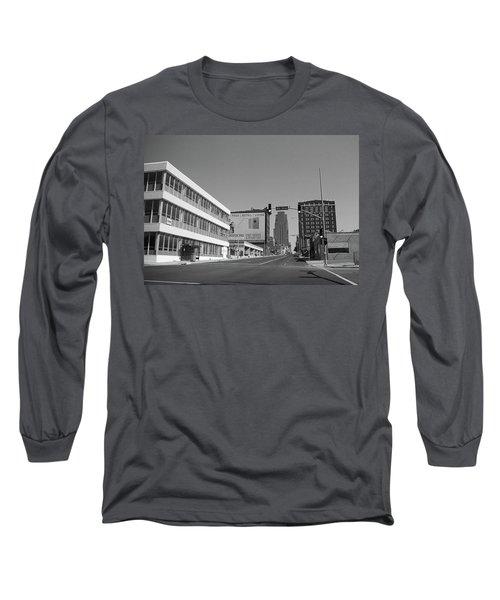 Long Sleeve T-Shirt featuring the photograph Kansas City - 18th Street Bw by Frank Romeo