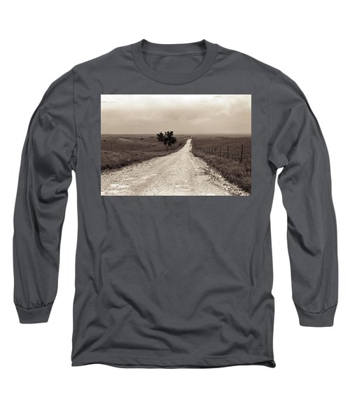 Kansas Country Road Long Sleeve T-Shirt by Thomas Bomstad