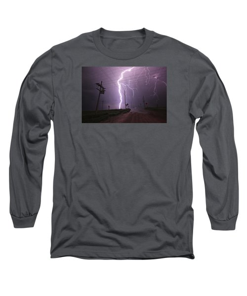 Long Sleeve T-Shirt featuring the photograph Kansas Lightning by Ryan Crouse