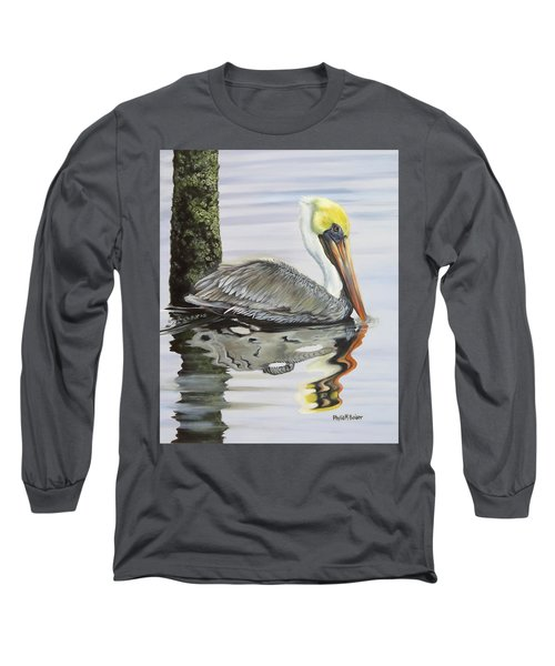 Kathy's Pelican Long Sleeve T-Shirt by Phyllis Beiser
