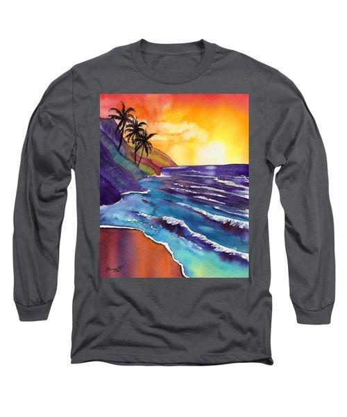 Kauai Na Pali Sunset Long Sleeve T-Shirt by Marionette Taboniar