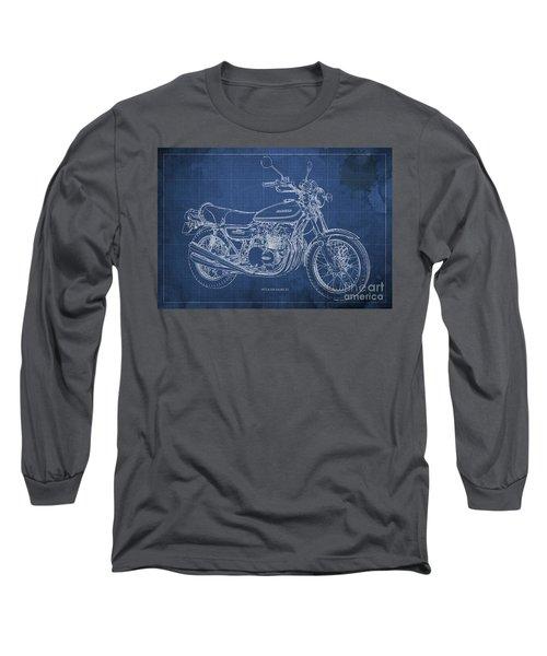 Kawasaki Motorcycle Blueprint, Mid Century Blue Art Print Long Sleeve T-Shirt