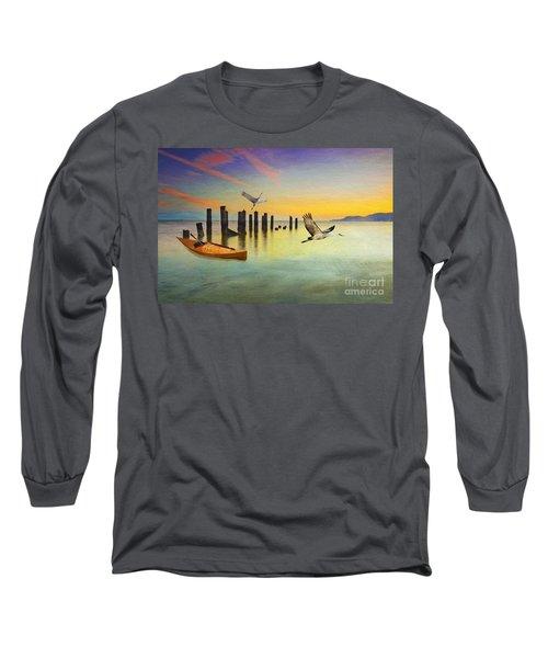 Kayak And Cranes Long Sleeve T-Shirt
