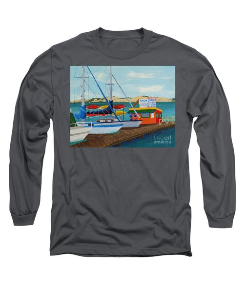 Long Sleeve T-Shirt featuring the painting Kayak Shack Morro Bay California by Katherine Young-Beck