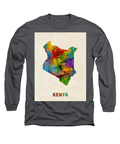 Long Sleeve T-Shirt featuring the digital art Kenya Watercolor Map by Michael Tompsett