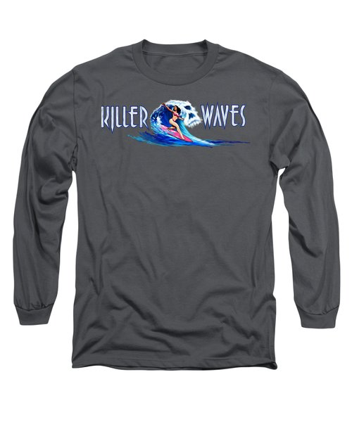 Killer Waves Skull Pink Long Sleeve T-Shirt