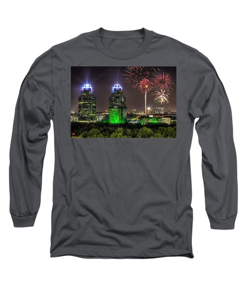 Long Sleeve T-Shirt featuring the photograph King And Queen Buildings Fireworks by Anna Rumiantseva