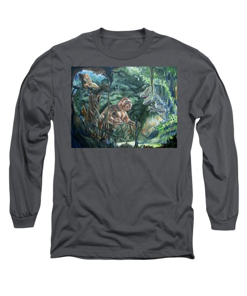 Long Sleeve T-Shirt featuring the painting King Kong Vs T-rex by Bryan Bustard