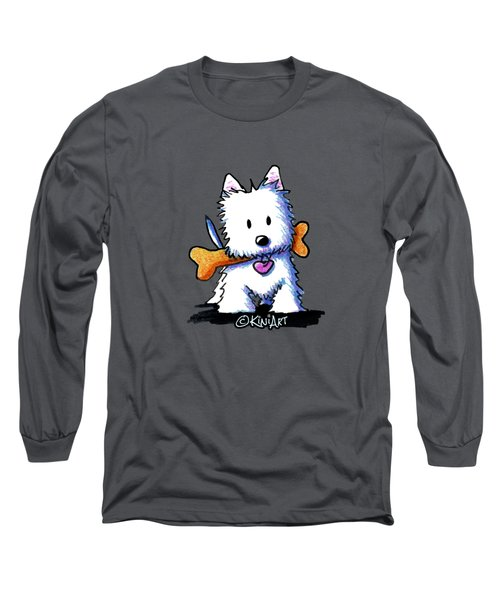 Kiniart Westie With Bone Long Sleeve T-Shirt